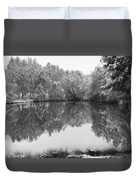 Duvet Cover featuring the photograph Forest Snow by Miguel Winterpacht