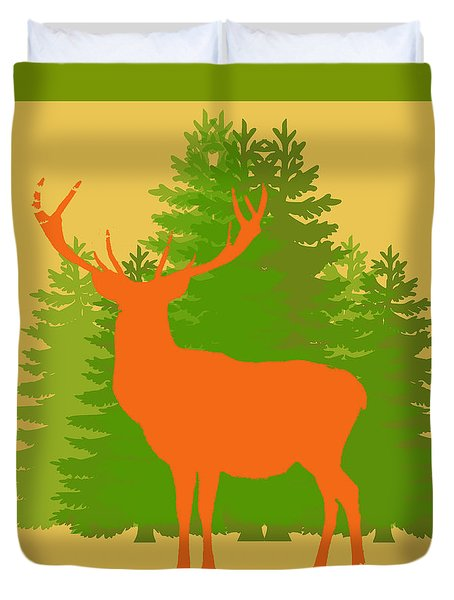 Duvet Cover featuring the photograph Forest Stag With Border by Suzanne Powers