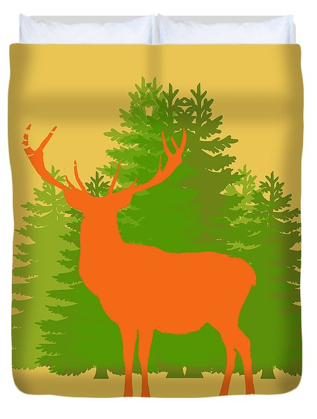 Duvet Cover featuring the photograph Forest Stag Without Border by Suzanne Powers