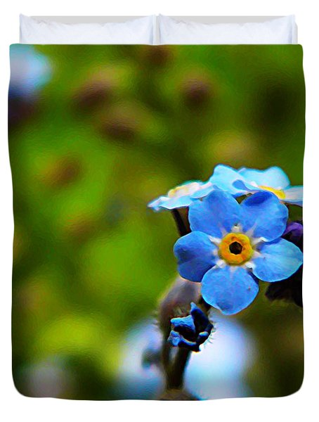 Forget Me Not Bloom Duvet Cover by Chris Berry