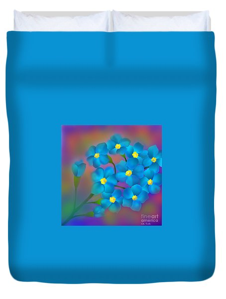 Forget- Me -not Flowers Duvet Cover by Latha Gokuldas Panicker