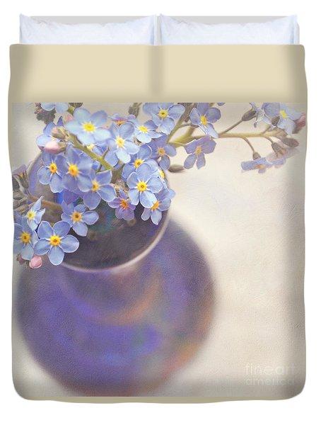Forget Me Nots In Blue Vase Duvet Cover