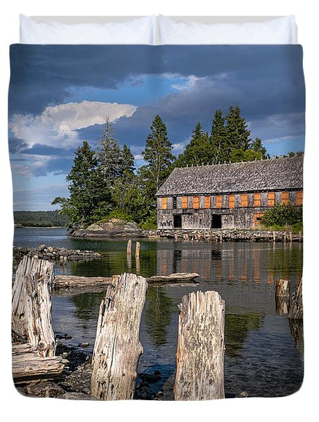 Forgotten Downeast Smokehouse Duvet Cover by Marty Saccone