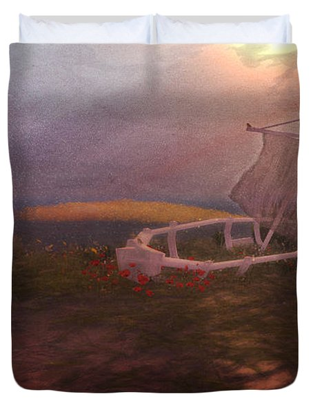 Duvet Cover featuring the digital art Forlorn by Kylie Sabra