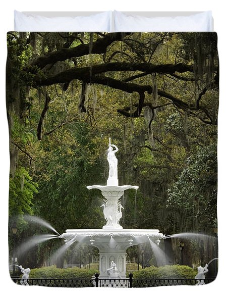 Forsyth Park Fountain - D002615 Duvet Cover by Daniel Dempster