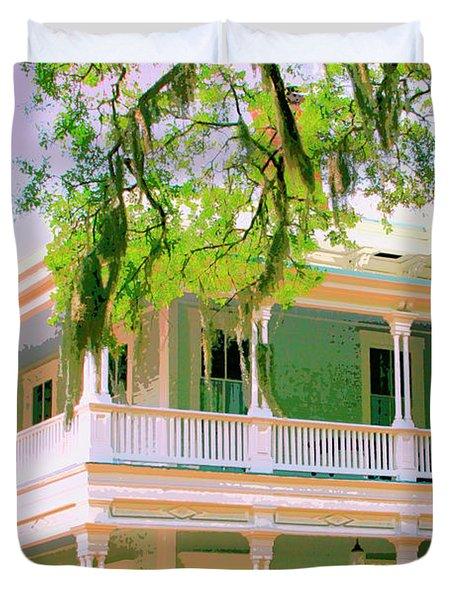 On The Porch Savannah Ga Duvet Cover