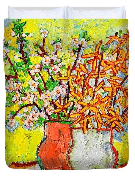 Forsythia And Cherry Blossoms Spring Flowers Duvet Cover