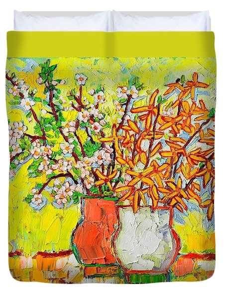 Forsythia And Cherry Blossoms Spring Flowers Duvet Cover by Ana Maria Edulescu