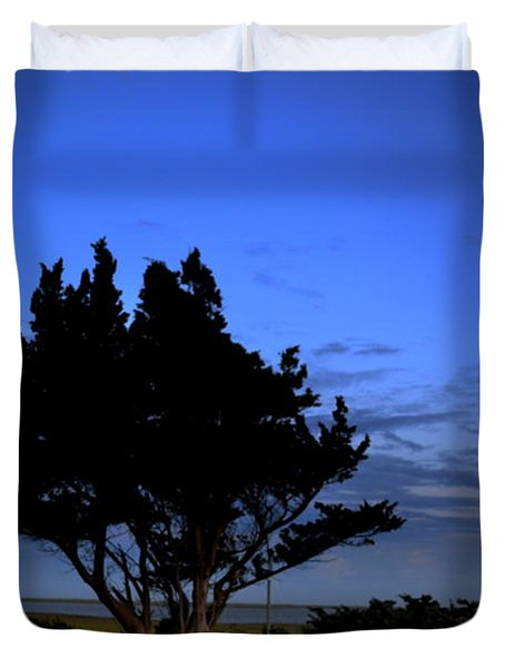 Fort Fisher Moonrise  Duvet Cover