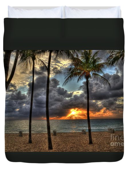 Fort Lauderdale Beach Florida - Sunrise Duvet Cover by Timothy Lowry