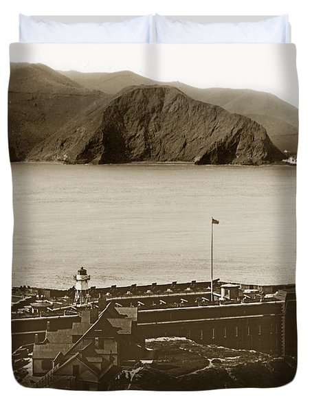 Fort Point And The Golden Gate San Francisco Circa 1890 Duvet Cover by California Views Mr Pat Hathaway Archives