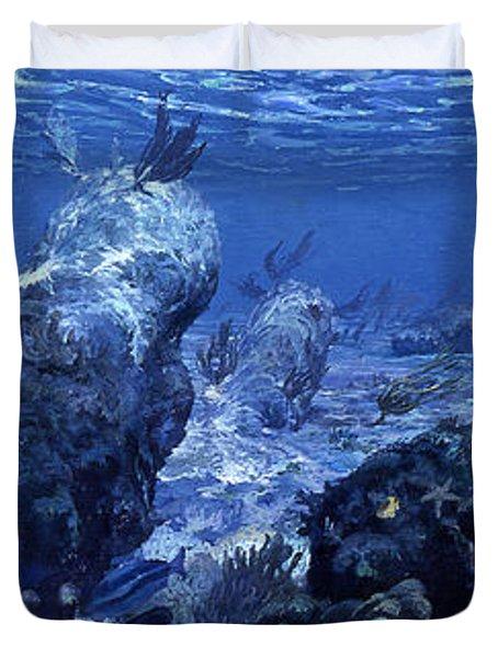 Fort Shark, 1975 Many Species Of Shark Duvet Cover