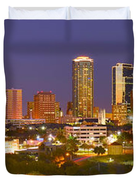 Duvet Cover featuring the photograph Fort Worth Skyline At Night Color Evening Panorama Ft. Worth Texas by Jon Holiday