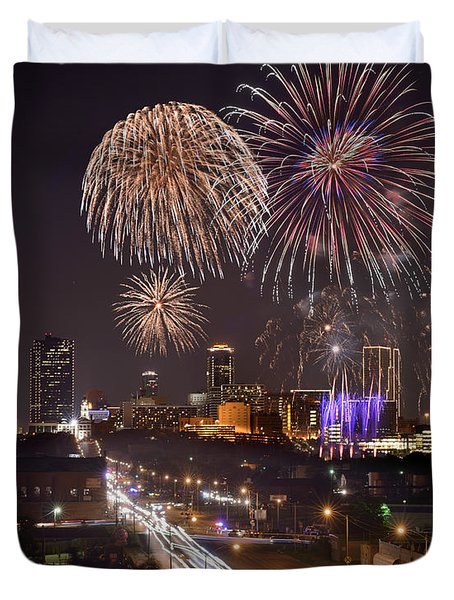 Duvet Cover featuring the photograph Fort Worth Skyline At Night Fireworks Color Evening Ft. Worth Texas by Jon Holiday