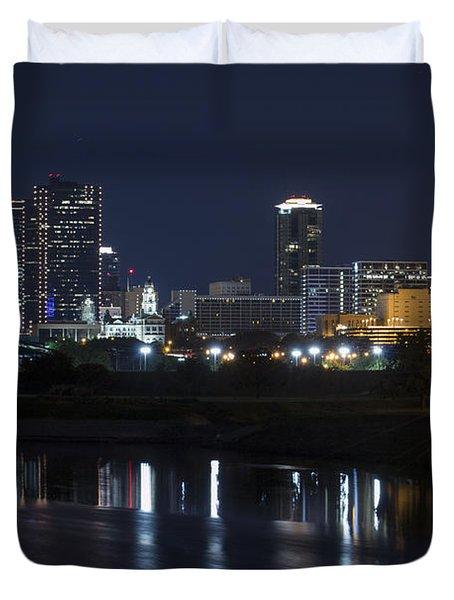 Fort Worth Skyline Super Moon Duvet Cover
