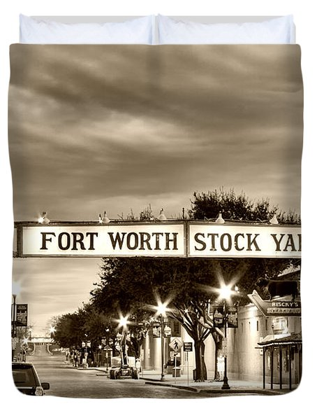 Fort Worth Stock Yards In Sepia Duvet Cover