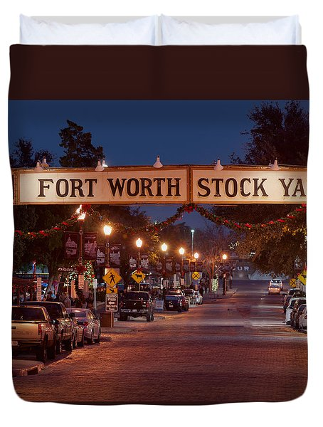 Fort Worth Stock Yards Night Duvet Cover