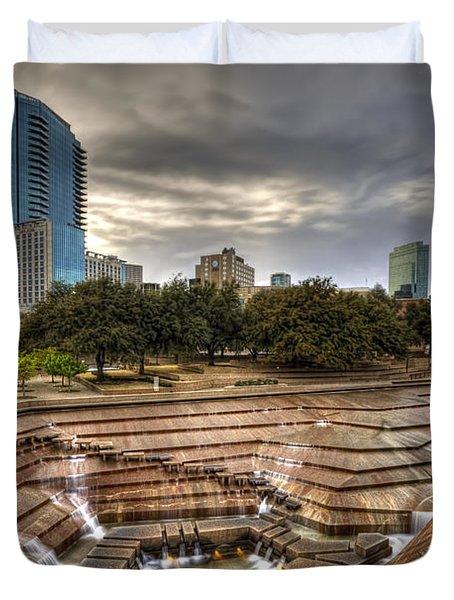 Fort Worth Water Garden Duvet Cover