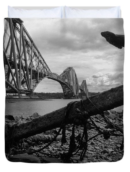 Duvet Cover featuring the photograph Forth Bridge Anchor by Jeremy Voisey