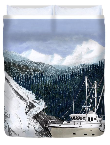 Forty Foot Nordhavn Northern Anchorage Duvet Cover by Jack Pumphrey