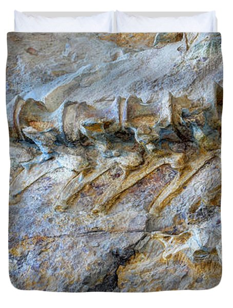 Fossilized Dinosaur Backbone - Dinosaur National National Monument Duvet Cover
