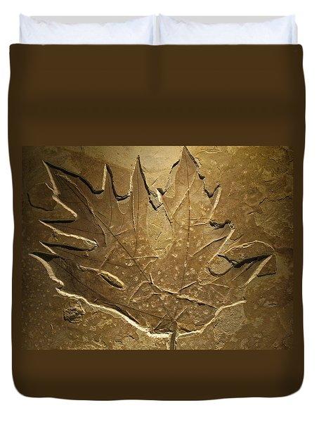 Fossilized Maple Leaf Duvet Cover by Connie Fox