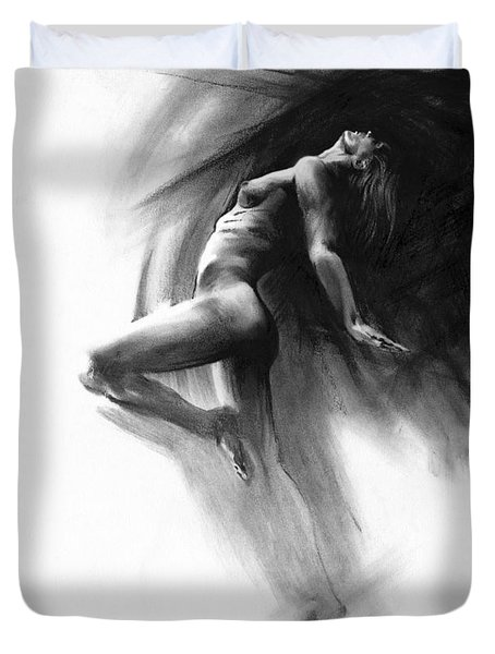 Duvet Cover featuring the drawing Fount by Paul Davenport