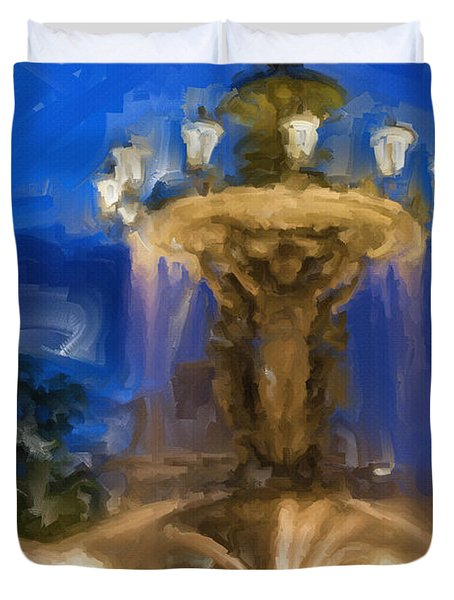 Fountain At Dusk Duvet Cover by Ayse Deniz