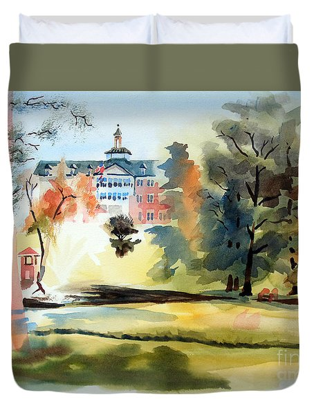 Fountain At The Baptist Home Duvet Cover by Kip DeVore