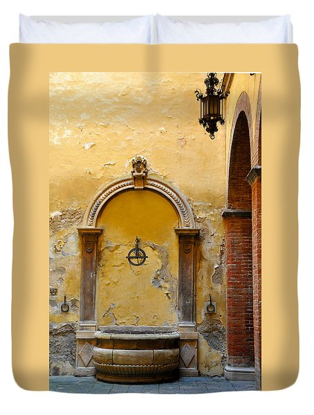 Fountain In Sienna Duvet Cover