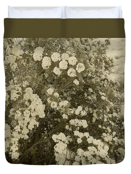 Duvet Cover featuring the photograph Fountain Of Blossoms by Mary Wolf