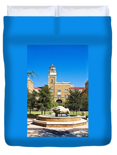 Duvet Cover featuring the photograph Fountain Of Knowledge by Mae Wertz