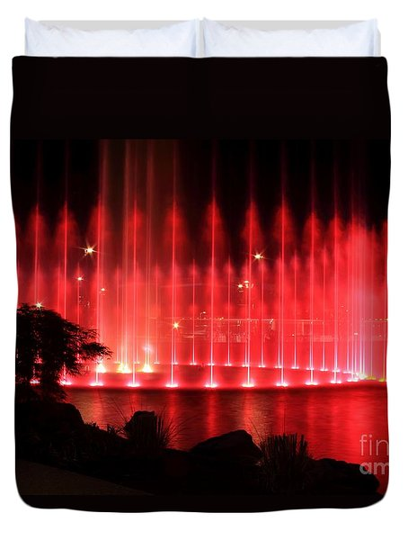 Fountain Of Red Duvet Cover by Geraldine DeBoer