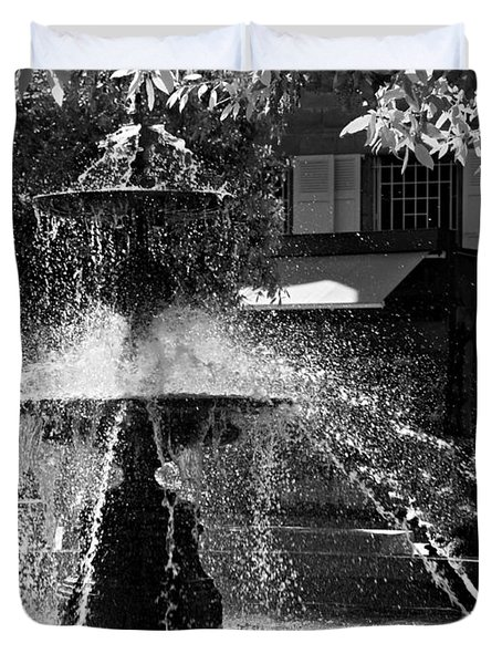 Duvet Cover featuring the photograph Fountain On Place Toulzac / Brive La Gaillarde by Barry O Carroll