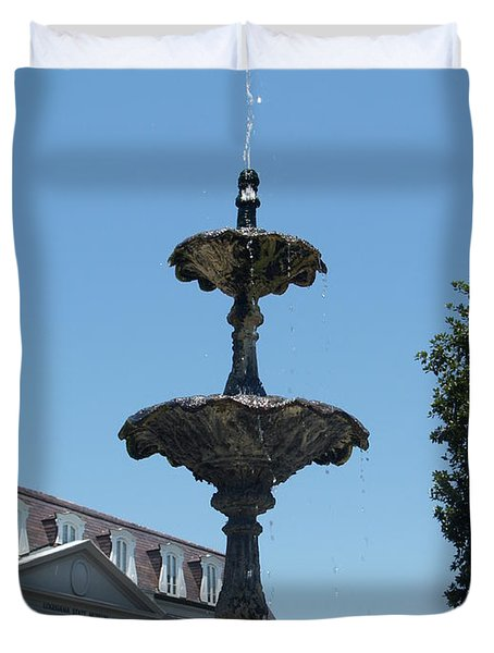Duvet Cover featuring the painting Fountain  by Robin Maria Pedrero