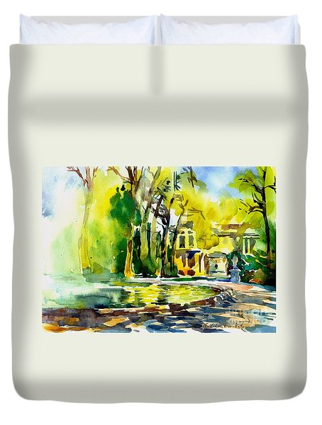 Fountain Spray - Brussels In Spring Duvet Cover by Anna Lobovikov-Katz
