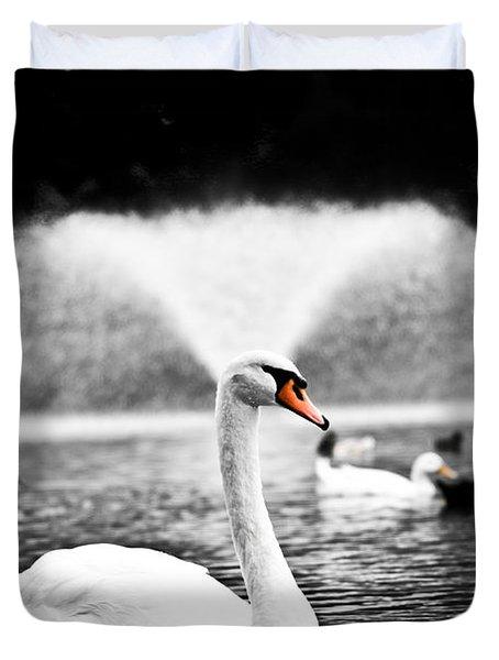 Fountain Swan Duvet Cover by Shane Holsclaw