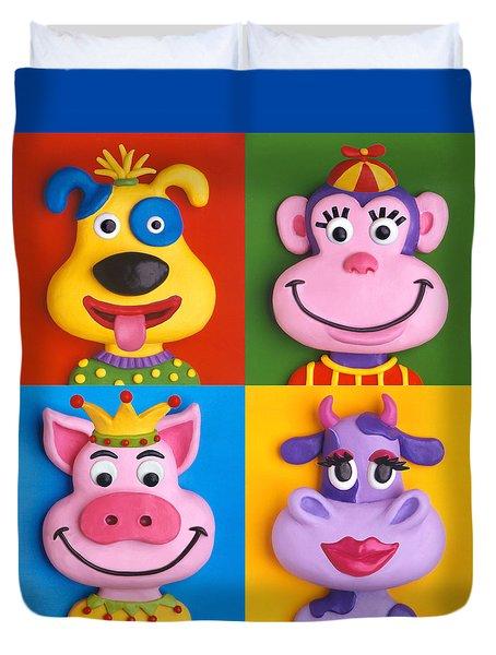 Four Animal Faces Duvet Cover by Amy Vangsgard
