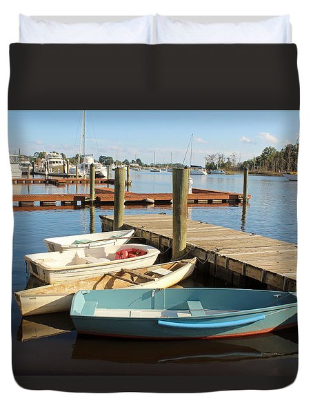 Duvet Cover featuring the photograph Four Boats  by Cynthia Guinn