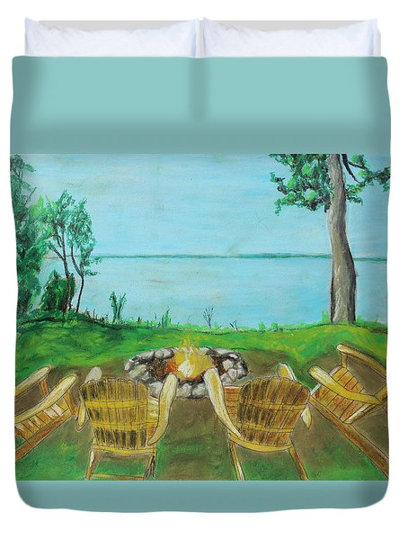Duvet Cover featuring the painting Four Chairs by Jeanne Fischer