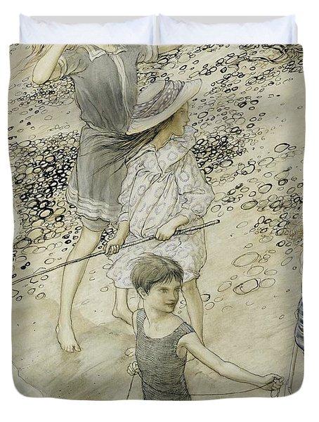 Four Children At The Seashore Duvet Cover by Arthur Rackham
