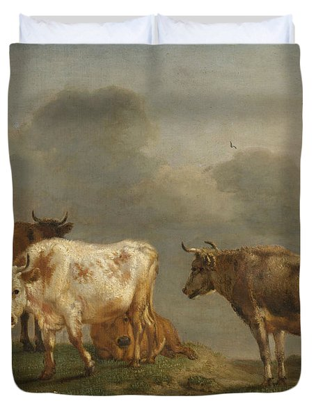 Four Cows In A Meadow Duvet Cover