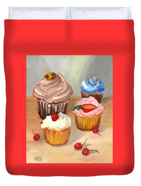Four Cupcakes Duvet Cover