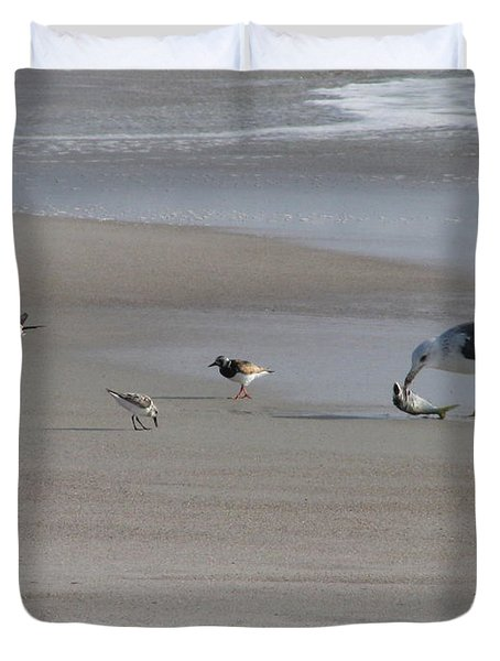 Four Feathers And A Fish Duvet Cover by Ellen Meakin