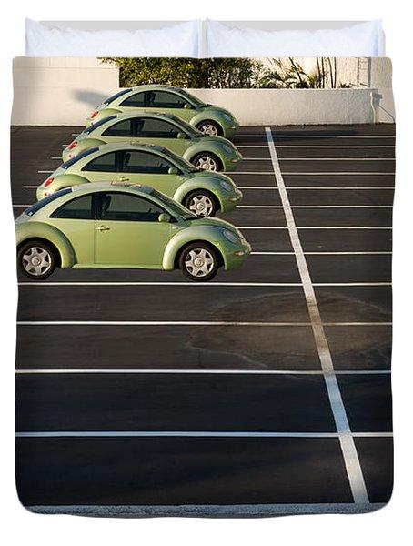 Four Green Beetles Duvet Cover