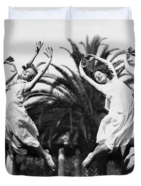 Four Leaping Grecian Dancers Duvet Cover