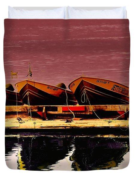 Four Little Boats Duvet Cover