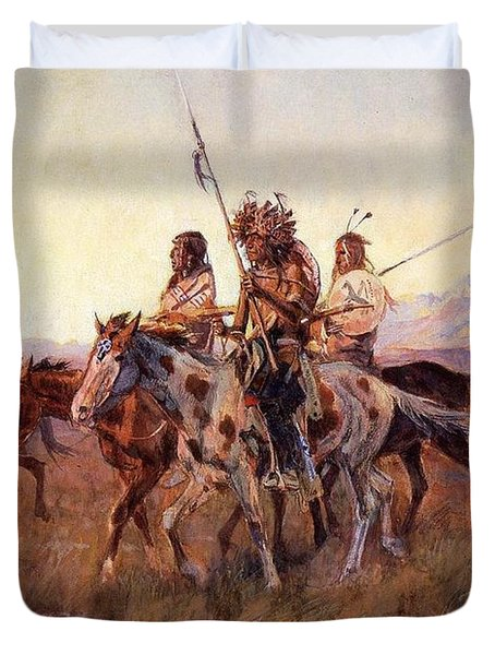 Four Mounted Indians Duvet Cover by Charles Russell