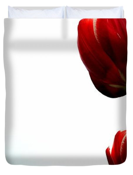 Four Red Tulips Duvet Cover
