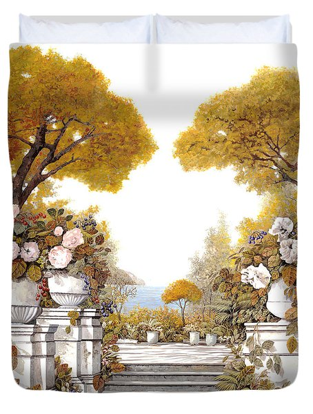four seasons-autumn on lake Maggiore Duvet Cover by Guido Borelli